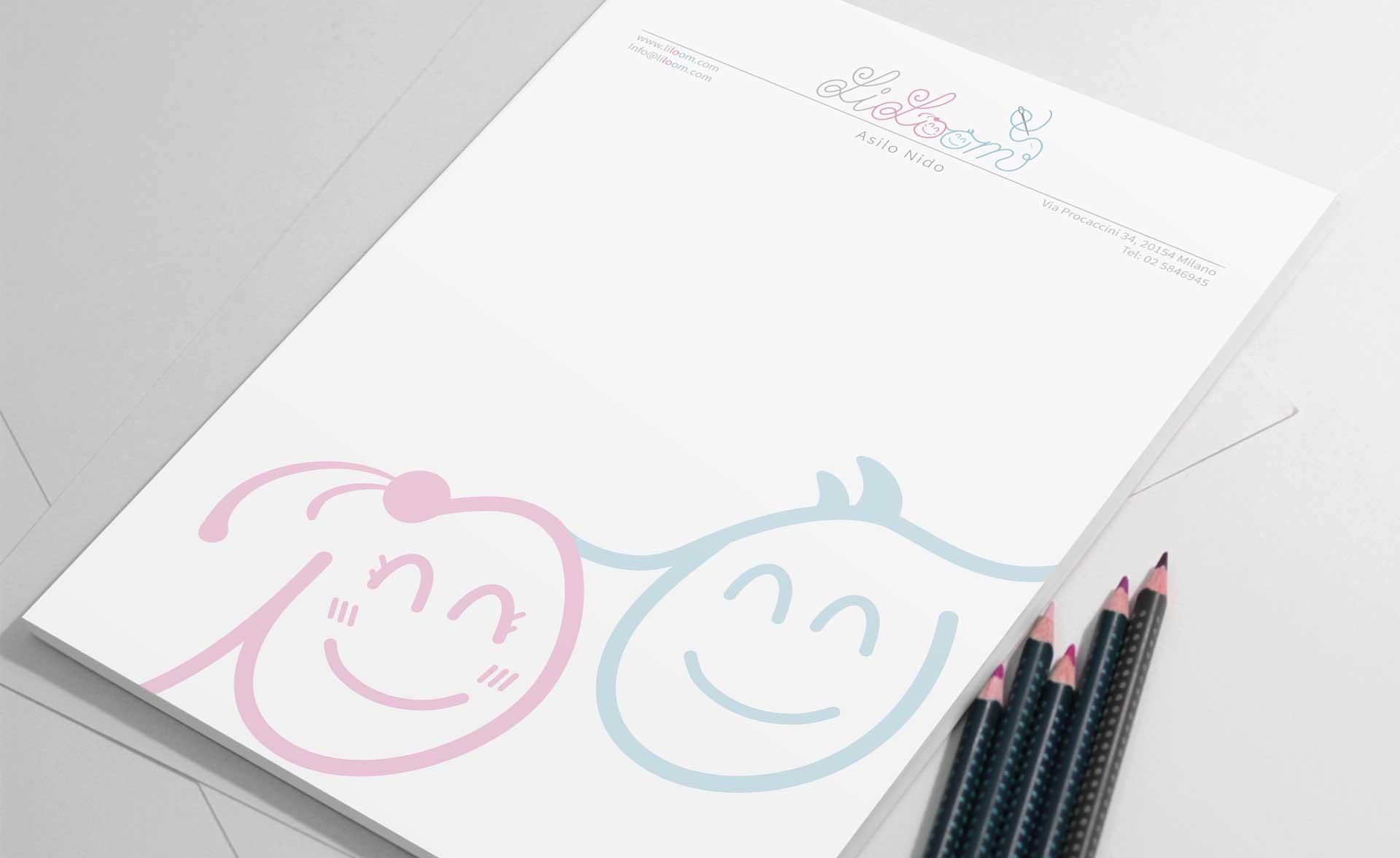 Logo design asilo lillom carta intestata