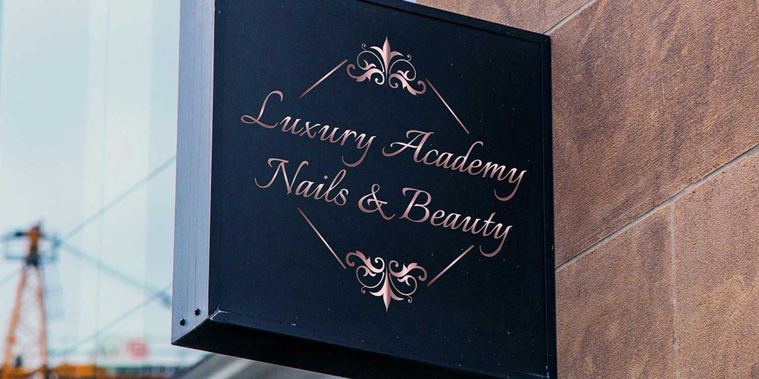 signboard shop beauty center visual identity logo